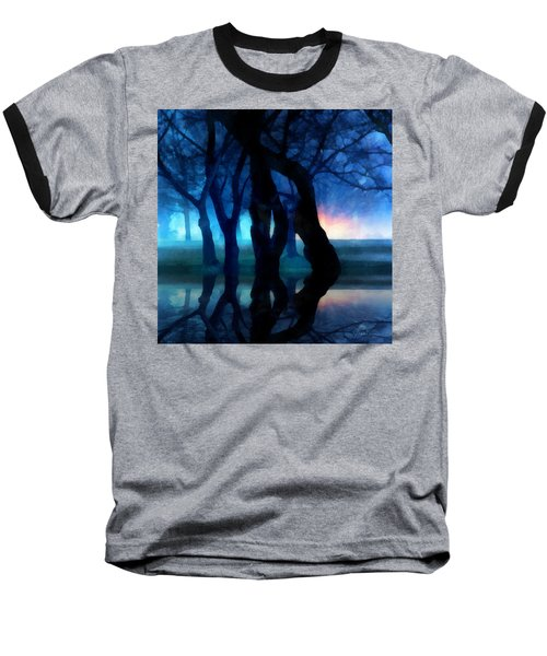 Night Fog In A City Park Baseball T-Shirt