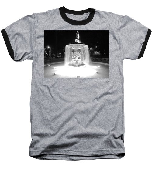 Night Fountain Baseball T-Shirt
