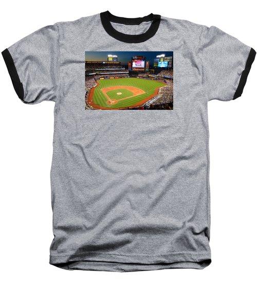 Night Game At Citi Field Baseball T-Shirt by James Kirkikis
