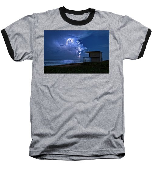 Night Lightning Under Full Moon Over Hobe Sound Beach, Florida Baseball T-Shirt by Justin Kelefas