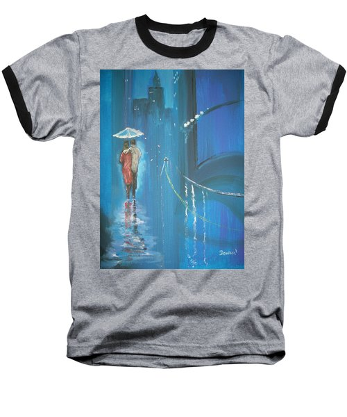 Baseball T-Shirt featuring the painting Night Love Walk by Raymond Doward