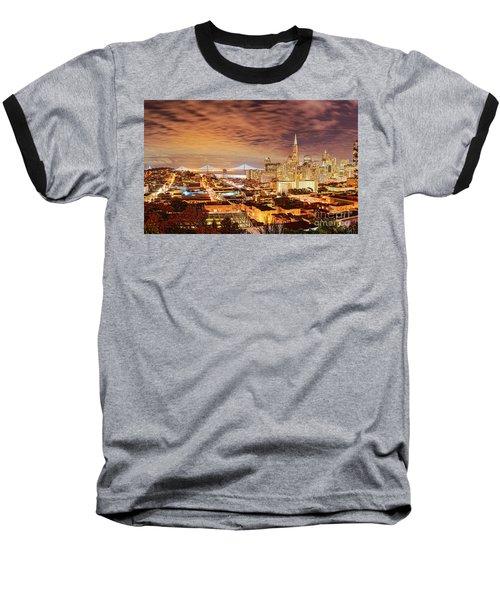 Night Panorama Of San Francisco And Oak Area Bridge From Ina Coolbrith Park - California Baseball T-Shirt