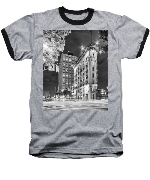 Night Photograph Of The Flatiron Or Saunders Triangle Building - Downtown Fort Worth - Texas Baseball T-Shirt