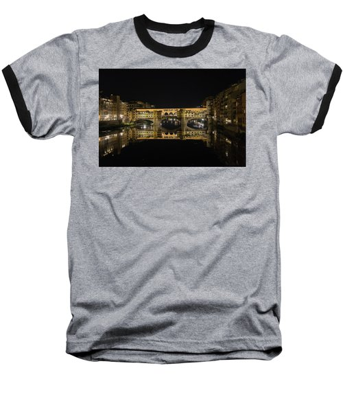 Night Reflections Of The Ponte Vecchio Baseball T-Shirt
