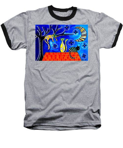 Night Shift - Cat Art By Dora Hathazi Mendes Baseball T-Shirt by Dora Hathazi Mendes