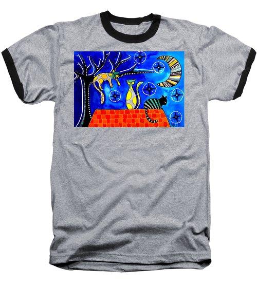 Night Shift - Cat Art By Dora Hathazi Mendes Baseball T-Shirt