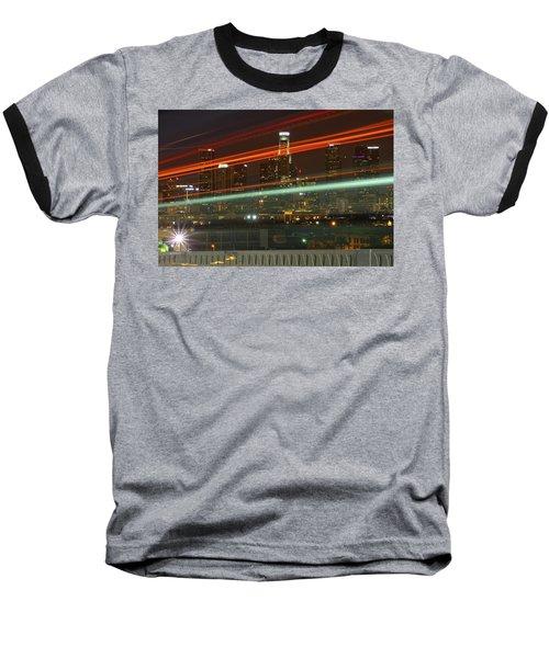 Night Shot Of Downtown Los Angeles Skyline From 6th St. Bridge Baseball T-Shirt