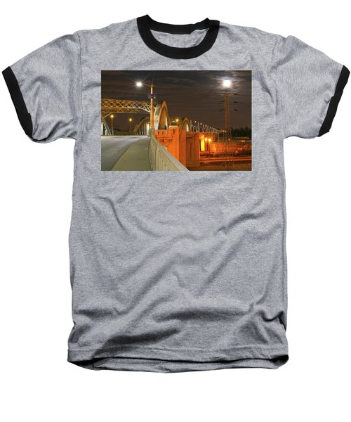 Night Shot Of The Los Angeles 6th Street Bridge And Supermoon #1 Baseball T-Shirt