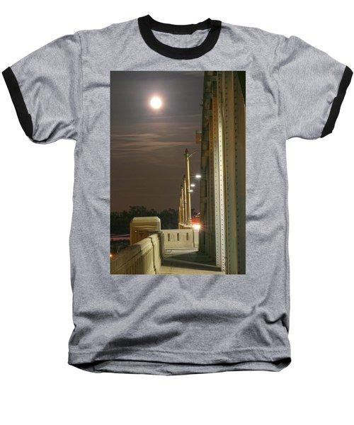 Night Shot Of The Los Angeles 6th Street Bridge And Supermoon #3 Baseball T-Shirt