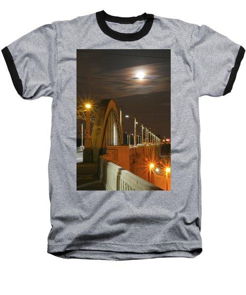 Night Shot Of The Los Angeles 6th Street Bridge And Supermoon #4 Baseball T-Shirt