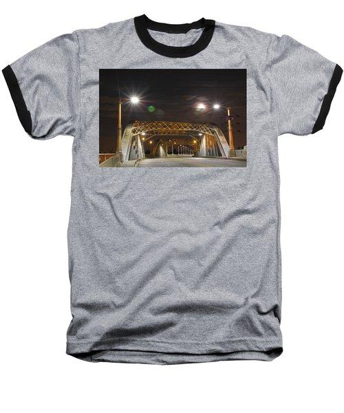 Night Shot Of The Los Angeles 6th Street Bridge And Supermoon #5 Baseball T-Shirt
