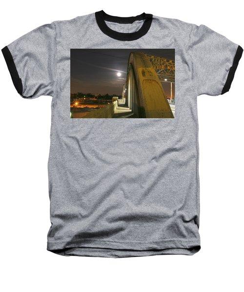 Night Shot Of The Los Angeles 6th Street Bridge And Supermoon #6 Baseball T-Shirt