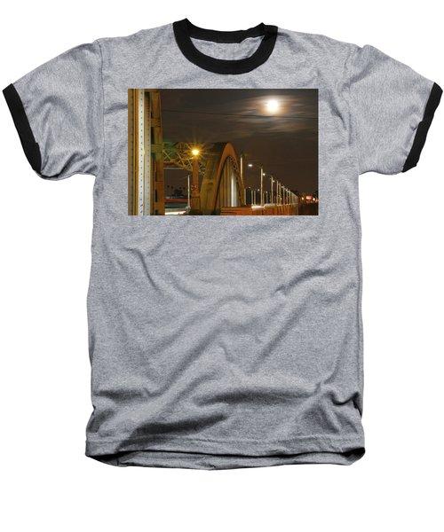Night Shot Of The Los Angeles 6th Street Bridge And Supermoon #7 Baseball T-Shirt