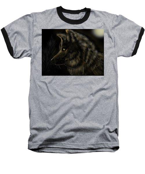 Night Silent Wolf Baseball T-Shirt