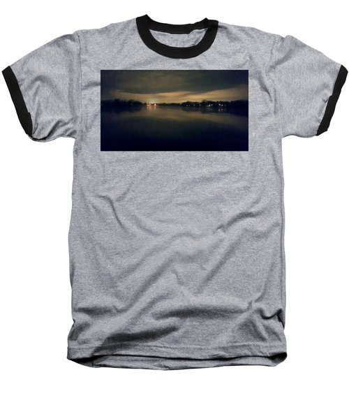 Night Sky Over Lake With Clouds Baseball T-Shirt