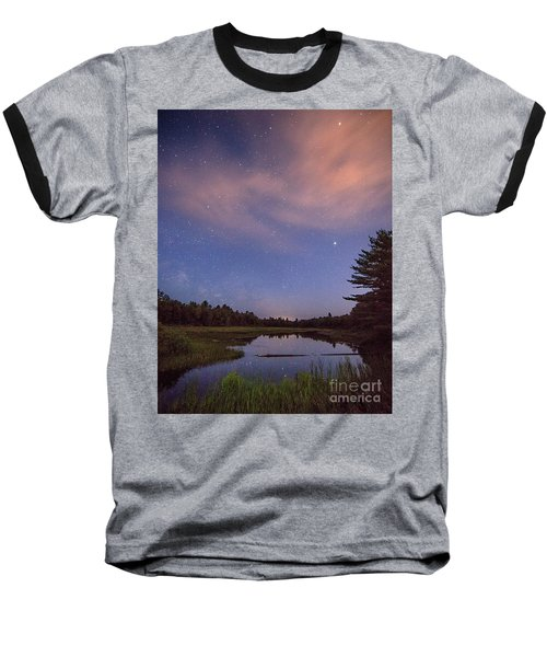 Night Sky Over Maine Baseball T-Shirt