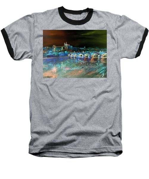 Baseball T-Shirt featuring the mixed media Night Sky Over Prague by Elizabeth Lock