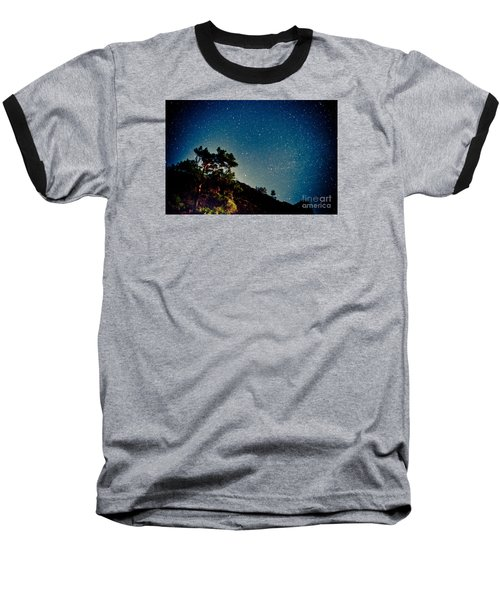 Night Sky Scene With Pine And Stars Baseball T-Shirt