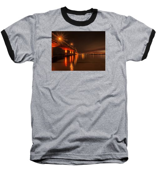 Night Time Reflections At The Bridge Baseball T-Shirt by Dorothy Cunningham