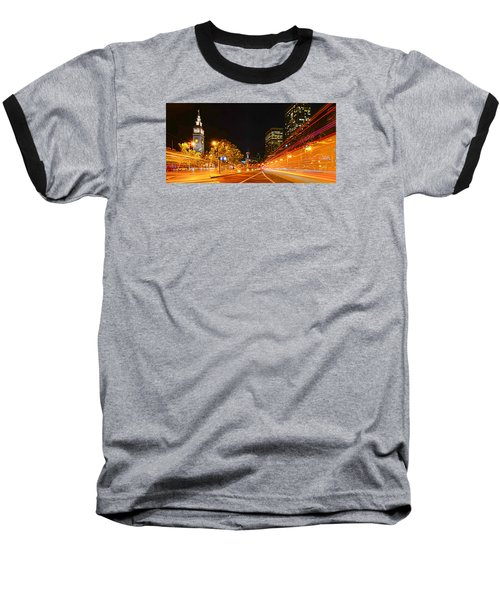 Baseball T-Shirt featuring the photograph Night Trolley On Time by Steve Siri