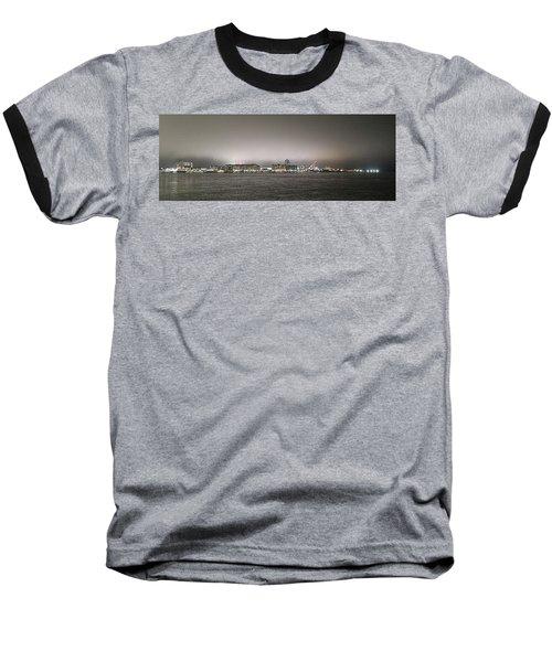 Night View Ocean City Downtown Skyline Baseball T-Shirt
