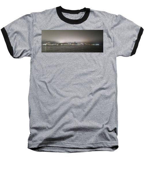 Night View Ocean City Downtown Skyline Baseball T-Shirt