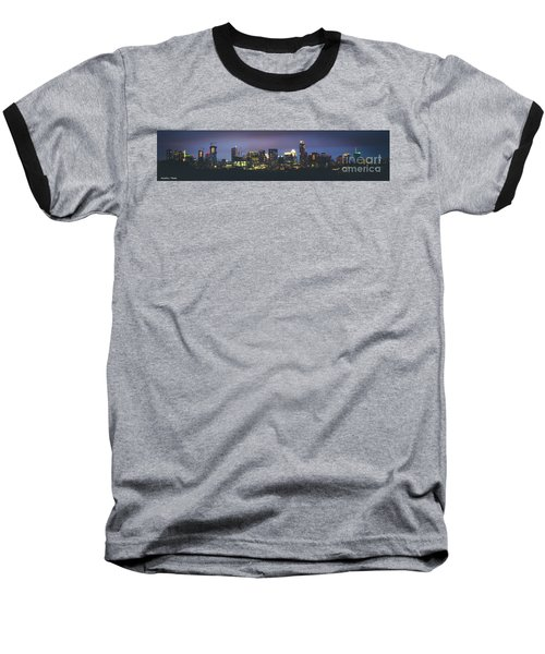 Night View Of Downtown Skyline In Winter Baseball T-Shirt