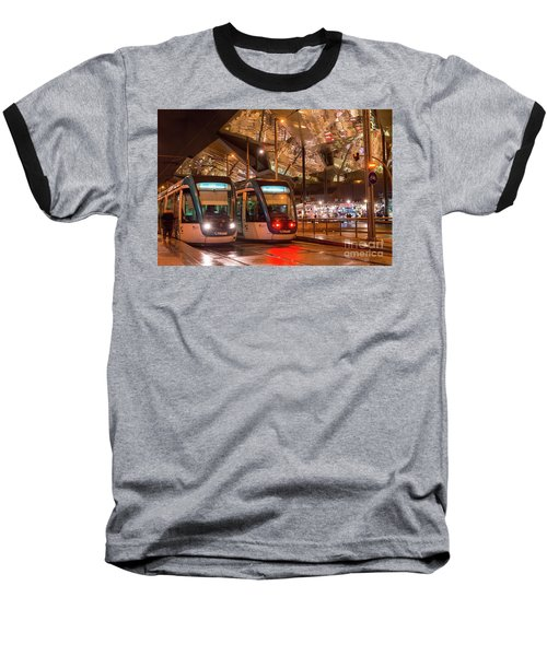 Night View Of Two Trams At Glories Station  Baseball T-Shirt