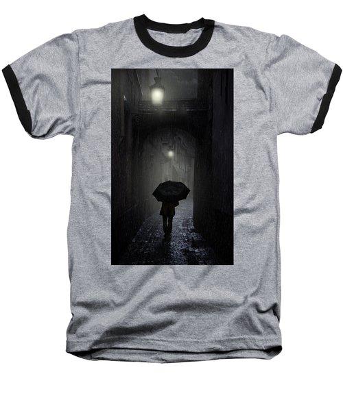 Night Walk In The Rain Baseball T-Shirt