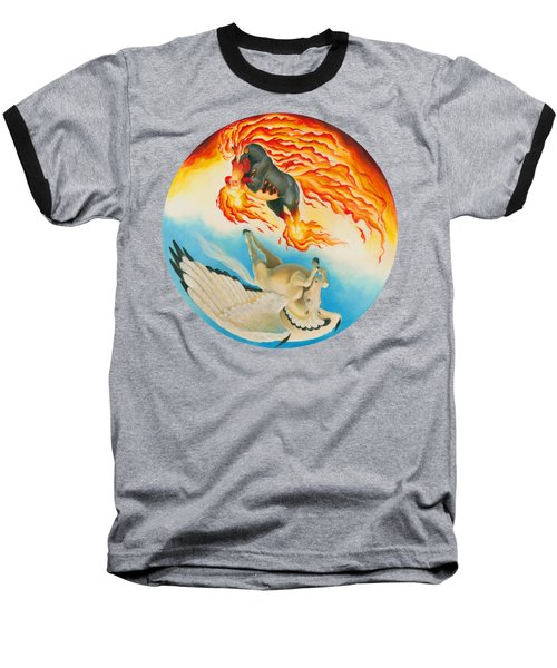 Nightmare And Mesa Pegasus Yin Yang Baseball T-Shirt by Melissa A Benson
