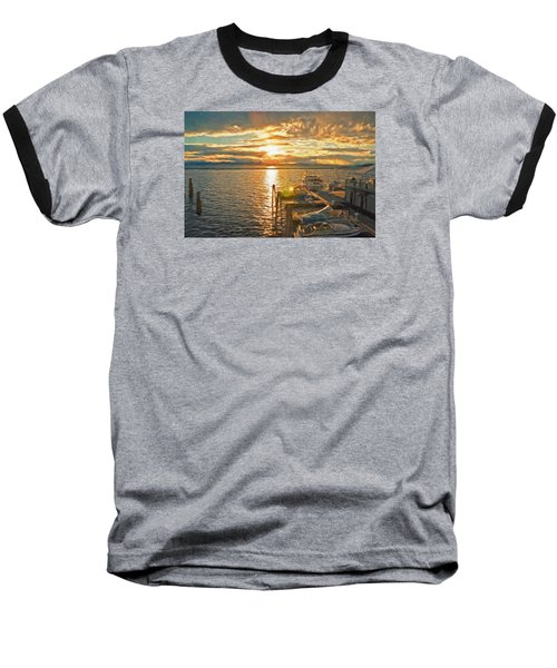 Nighttime Dockage Baseball T-Shirt by Rena Trepanier