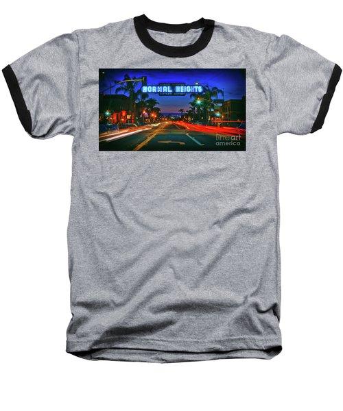 Nighttime Neon In Normal Heights, San Diego, California Baseball T-Shirt
