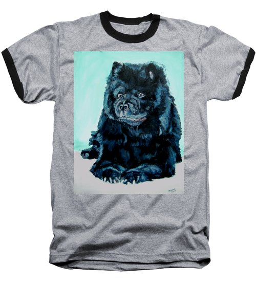 Baseball T-Shirt featuring the painting Nikki The Chow by Bryan Bustard