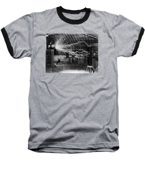 Nikola Tesla - Bolts Of Electricity Baseball T-Shirt
