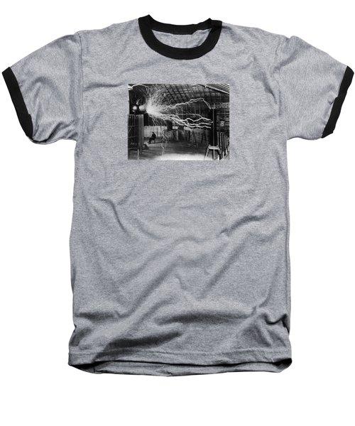 Nikola Tesla - Bolts Of Electricity Baseball T-Shirt