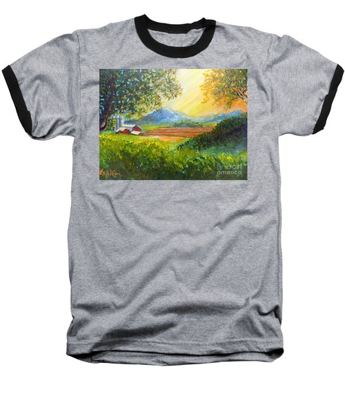 Baseball T-Shirt featuring the painting Nixon's Majestic Farm View by Lee Nixon