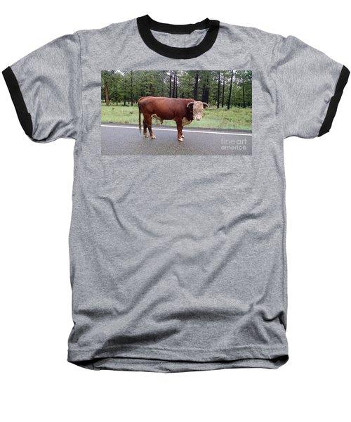 Baseball T-Shirt featuring the photograph No Bull by Roberta Byram