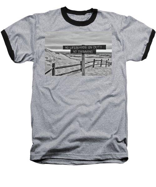 No Lifeguards On Duty Black And White Baseball T-Shirt by Paul Ward