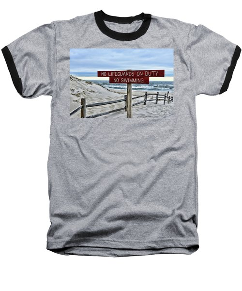 No Lifeguards On Duty Baseball T-Shirt by Paul Ward