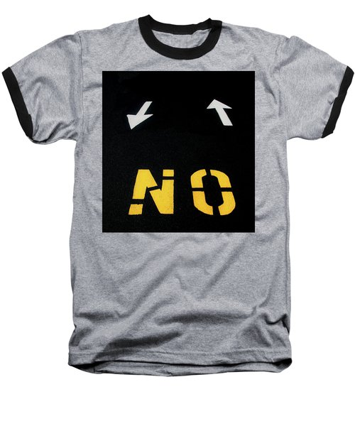 Baseball T-Shirt featuring the photograph No Sense Of Direction Traffic Lines by Gary Slawsky
