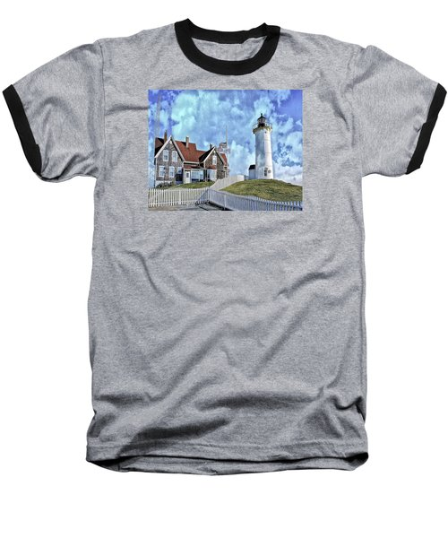 Nobska Point Lighthouse Falmouth Cape Cod Baseball T-Shirt by Constantine Gregory