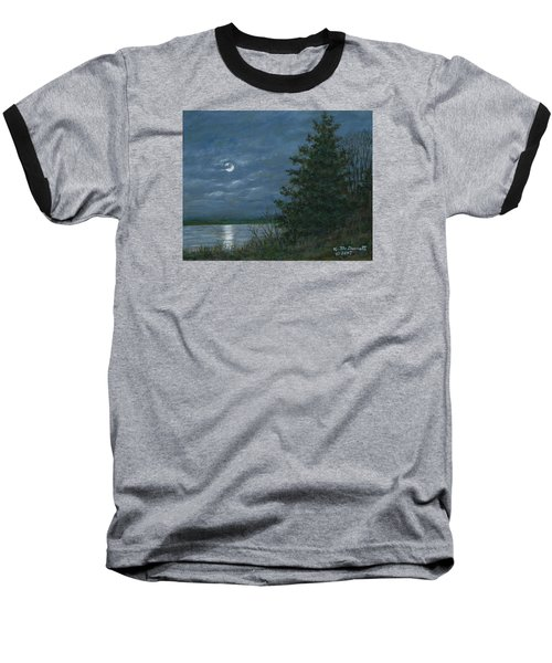 Baseball T-Shirt featuring the painting Nocturne In Blue by Kathleen McDermott