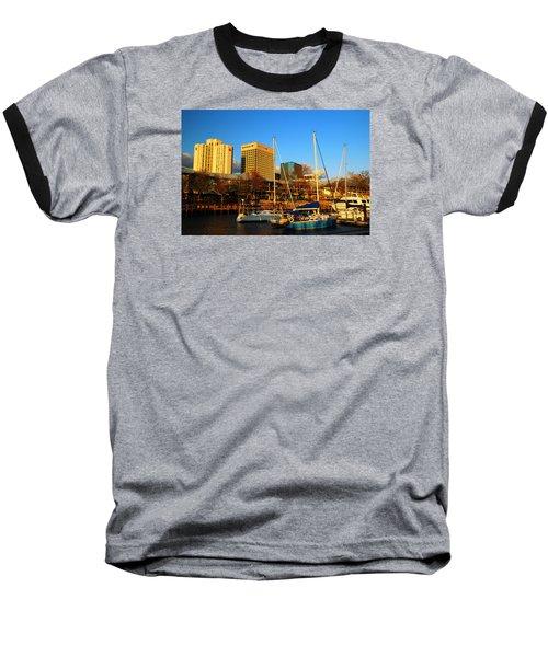 Norfolk From Waterside Baseball T-Shirt by James Kirkikis