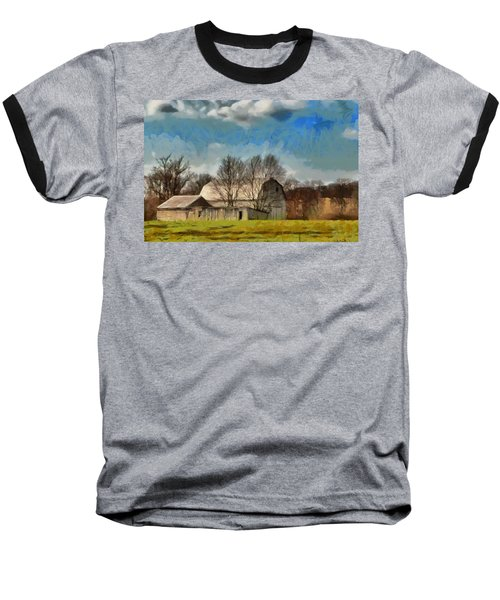 Baseball T-Shirt featuring the mixed media Norman's Homestead by Trish Tritz