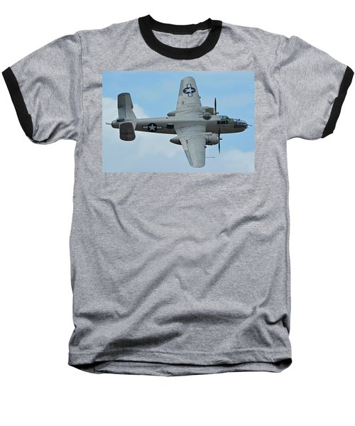 Baseball T-Shirt featuring the photograph North American B-25j Mitchell N9856c Pacific Princess Chino California April 30 2016 by Brian Lockett