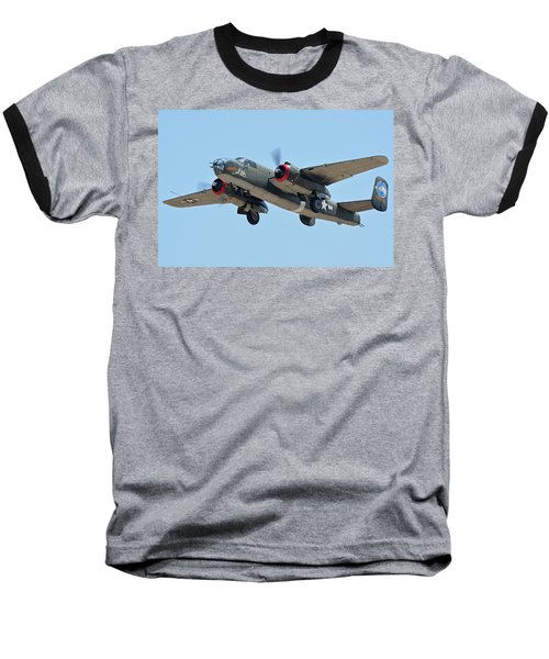 Baseball T-Shirt featuring the photograph North American B-25j Mitchell Nl3476g Tondelayo Phoenix-mesa Gateway Airport Arizona April 15, 2016 by Brian Lockett