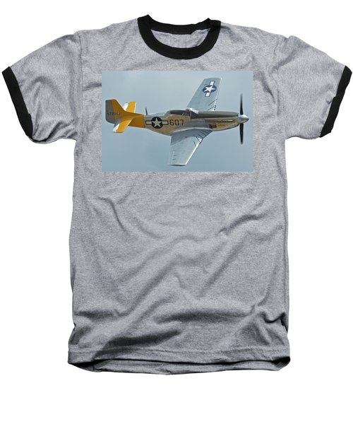 Baseball T-Shirt featuring the photograph North American P-51d Mustang Nl5441v Dolly/spam Can Chino California April 30 2016 by Brian Lockett