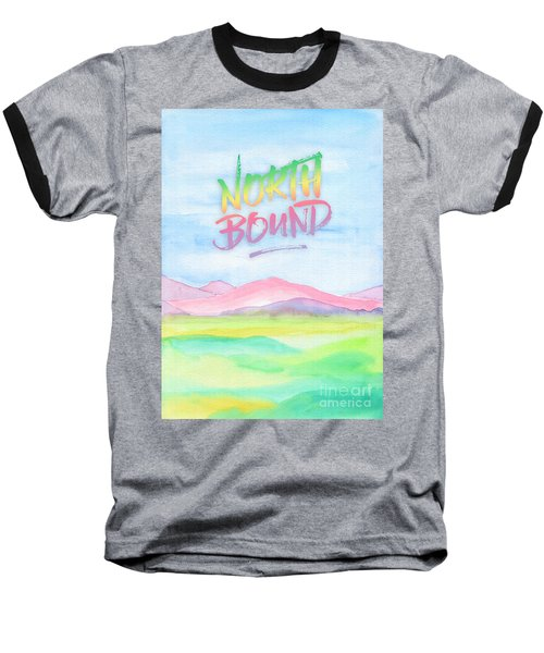 North Bound Pink Purple Mountains Watercolor Painting Baseball T-Shirt