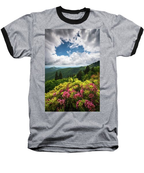 North Carolina Appalachian Mountains Spring Flowers Scenic Landscape Baseball T-Shirt