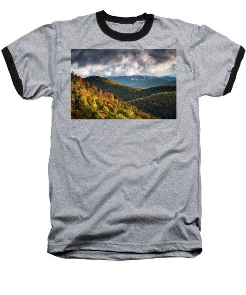 North Carolina Mountains Asheville Nc Autumn Sunrise Baseball T-Shirt